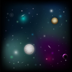 Vector space background with planet