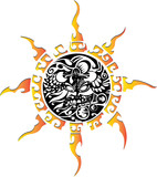 sun symbol, tattoo illustration