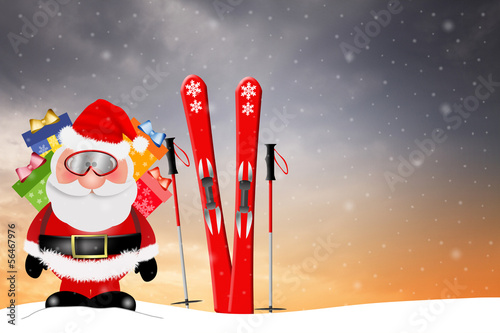 Santa Claus with ski for Christmas