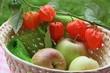 Körbchen mit Äpfeln und Lampionblumen