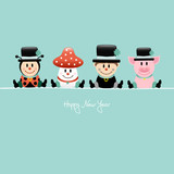 Sitting Ladybeetle, Fly Agaric, Chimney Sweep & Pig Retro