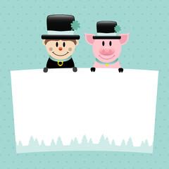 Chimney Sweep & Pig Label Retro