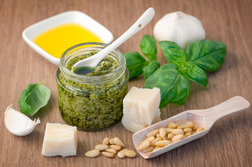 Fresh pesto with basil