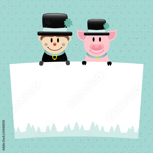Chimney Sweep & Pig Label Retro