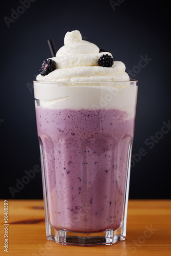 Fresh homemade blackberry milkshake