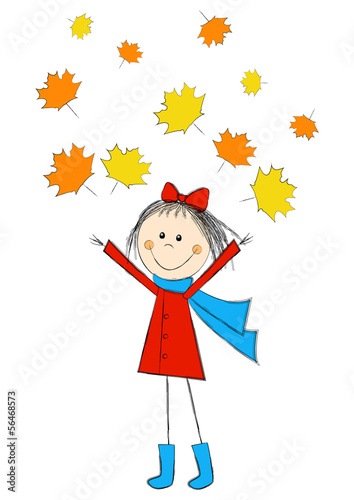 Cute cartoon girl with autumn leaves