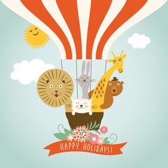 Funny company in hot air ballon, greeting card