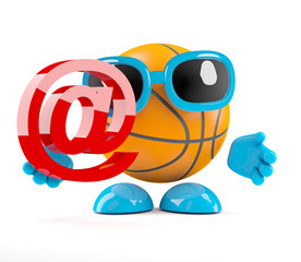 Basketball with email symbol