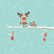 Rudolph Glasses Pulling Sleigh With Gift Tree Retro