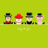Sitting Ladybeetle, Fly Agaric, Chimney Sweep & Pig Green