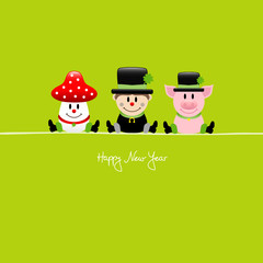 Sitting Fly Agaric, Chimney Sweep & Pig Green