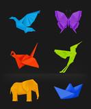 Origami set multicolored on black