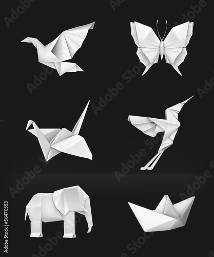 Deurstickers Geometrische dieren Origami set on black