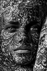 circus face art woman close up portrait