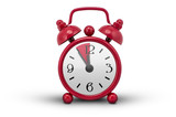 Red Alarm Clock - white background