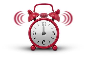 Red Alarm Clock - white background