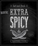Vintage Extra Spicy Poster - Chalkboard. Vector illustration.