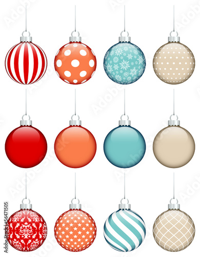 Collection Of 12 Christmas Balls Retro