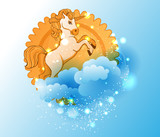 Cartoon unicorn, sun and cloudsCartoon unicorn, sun and clouds