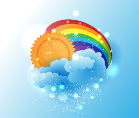 Cartoon sun, cloud and rainbow
