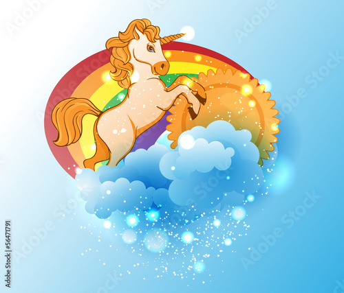Cartoon unicorn, sun, rainbow and clouds