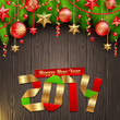 2014 new year greeting with holidays decoration