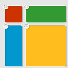 set of four colored box for any text with envelope