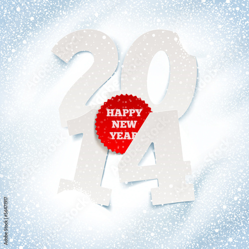 2014 new year - holidays greeting with paper numbers in the snow