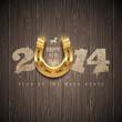 New 2014 year - holidays design with golden horseshoe