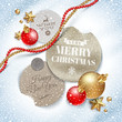 Cardboard labels with Christmas greeting and holiday decor