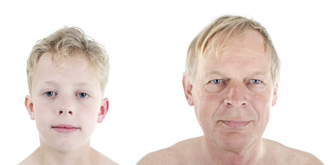 old man young boy comparison concept of aging