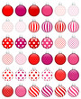Collection Of 36 Christmas Balls Red/Pink
