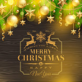Christmas greetings emblem and golden decoration