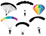 Vector illustration of paragliders and parachutes