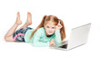 Funny Little Girl With Laptop Computer