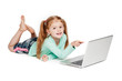 Small Girl Pointing At Laptop Computer