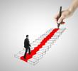 businessman walking on ladder