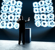 businessman standing on rostrum