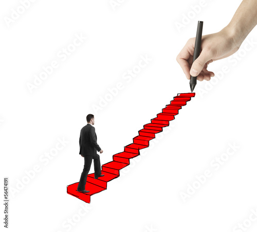 man walking on drawing ladder