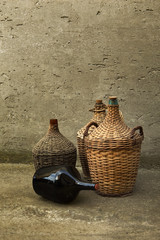 Woven wicker wine bottles