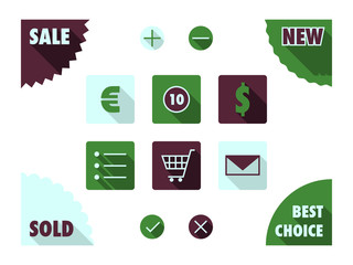 Flat icons for e-shop