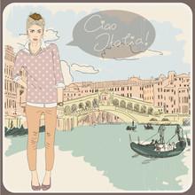 Schöne alte Karte mit einem modischen Mädchen. Ciao Italia!