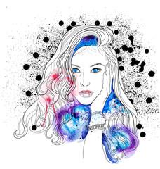Creative Watercolor Vector Woman Portrait