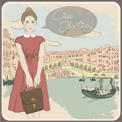 Beautiful vintage card with a fashionable girl. Ciao Italia!