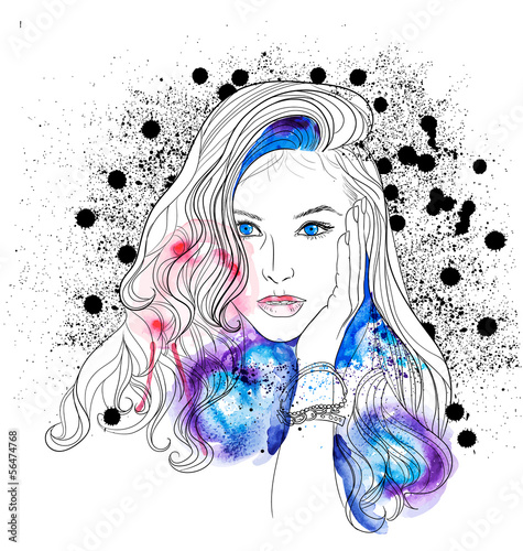 Creative Watercolor Vector Woman Portrait - 56474768