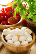 mozzarella with tomatoes and green basil