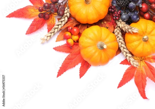 Pumpkins and coloful autumn decorations on white background.