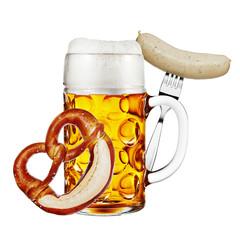 Mass Bier mit Brezel und Weißwurst