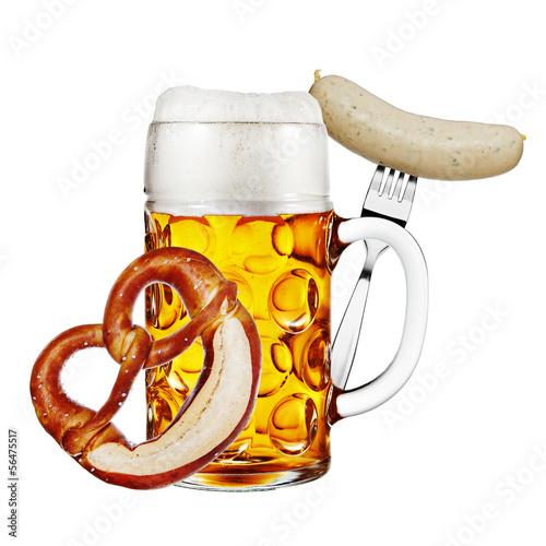 canvas print picture Mass Bier mit Brezel und Weißwurst