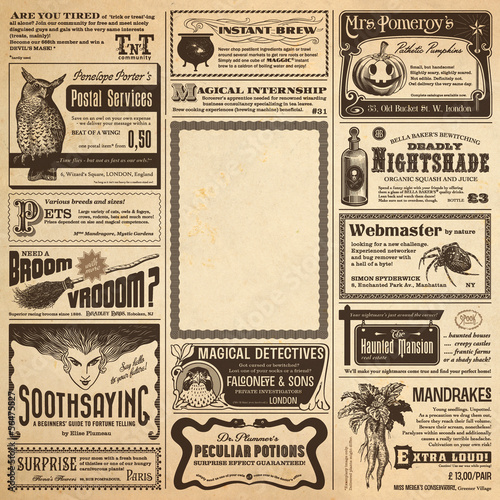 wizarding newspaper page with classifieds as a Halloween card